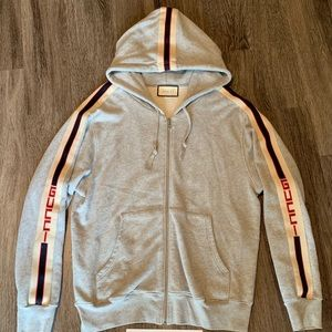 Gucci zip-up Sweater with Gucci Stripe